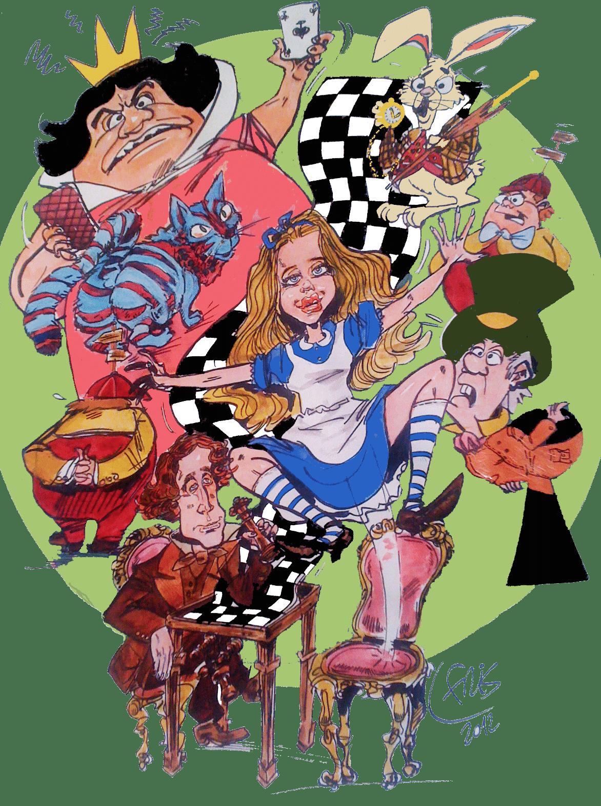Dessin original de Fris, une composition style BD sur la thématique d'Alice au pays des merveilles