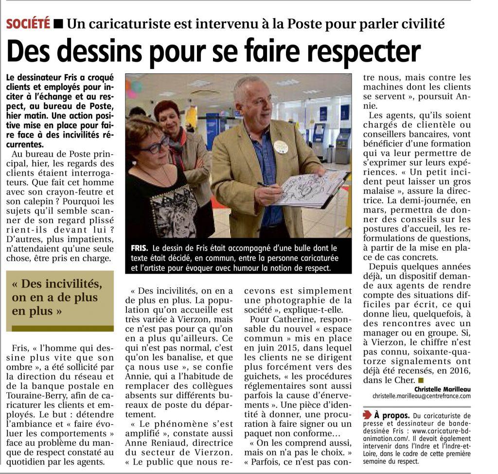 Le Berry Rép_Un caricaturiste à La Poste de Vierzon pour favoriser le respect_160317