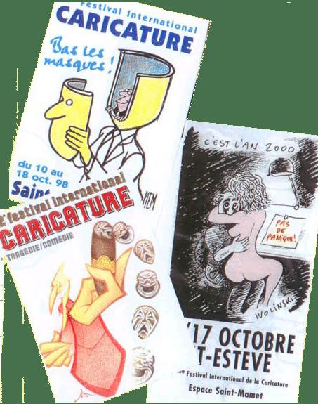 3 affiches du Festival international de la caricature de St esteve, Fris y a gagné le prix du meilleur caricaturiste.