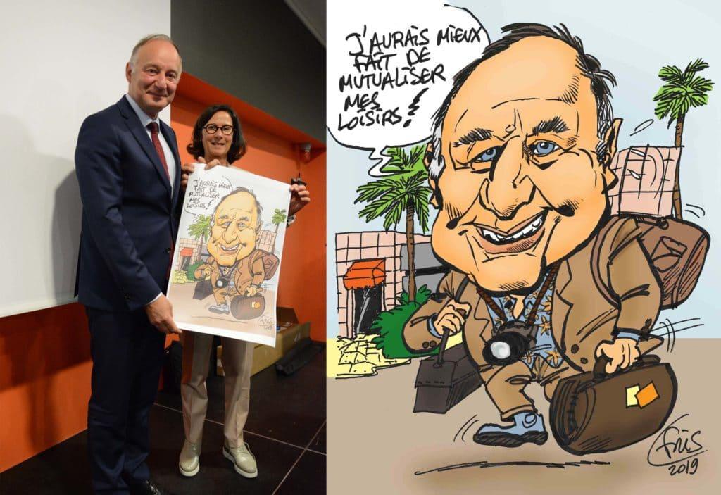 Caricature BD de Fris d'après photo pour cadeau départ à la retraite
